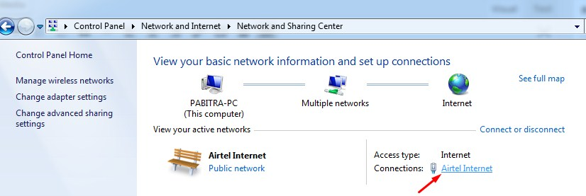 Click on connected network