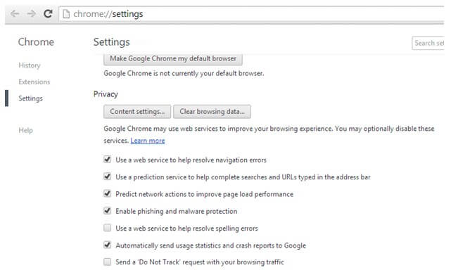 Enable Chrome Privacy Settings